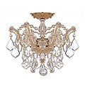 Crystal 3-light Polished Gold Semi-flush Fixture