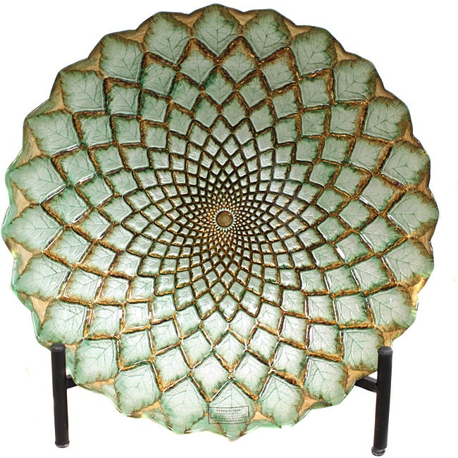 Casa Cortes Hand Painted Gold Weave Artisan Glass Decorative Plate