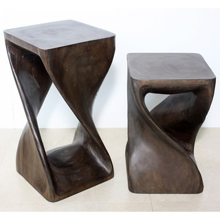 12 Inches Square x 18-inch Mocha Oil Twist Stool (Thailand)