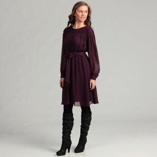 Calvin Klein Long Sleeve Self Belt Chiffon Dress