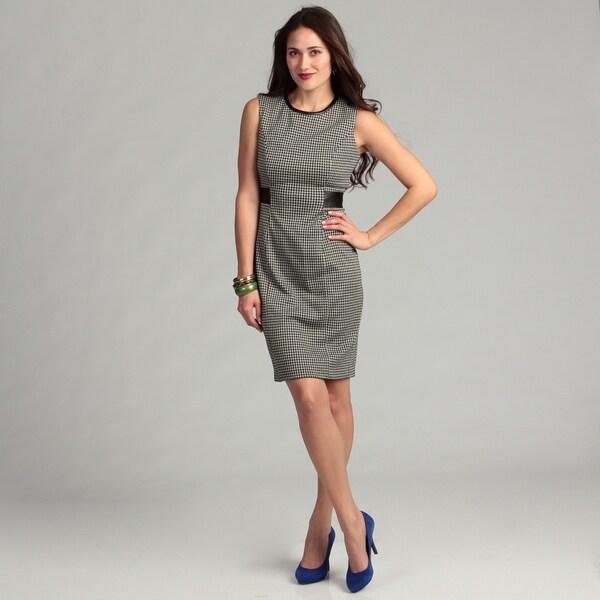 Calvin Klein Women's Black/ White Houndstooth Dress