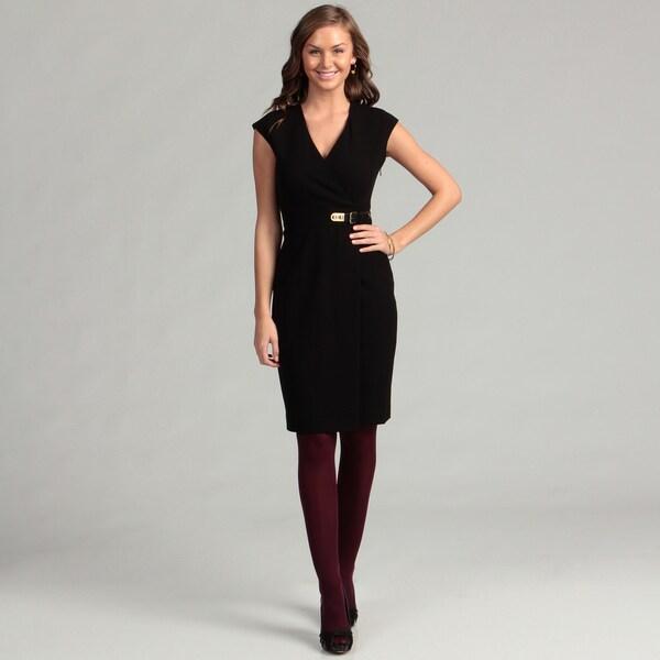 Calvin Klein Women's Black Career Lux Double Buckle Dress