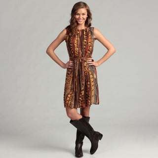 Calvin Klein Women's Multi Chiffon Belted Dress
