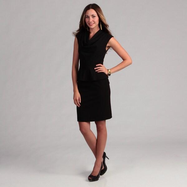 Calvin Klein Women's Career Lux Drape Neck Peplum Dress FINAL SALE