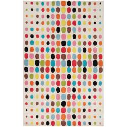 Tepper Jackson Hand-tufted White Contemporary Multi Colored Wool Rug (5' x 8')