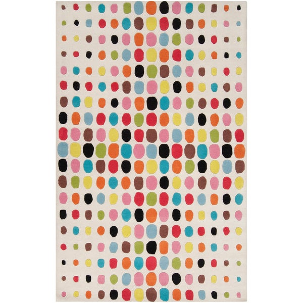 Tepper Jackson Hand-tufted White Contemporary Multi Colored Circles Bode Wool Rug (5' x 8')