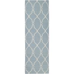 Jill Rosenwald Hand-woven Blue Masoleum Wool Rug (2'6 x 8')