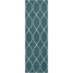 Jill Rosenwald Hand-woven Blue Halicarn Wool Rug (2'6 x 8')