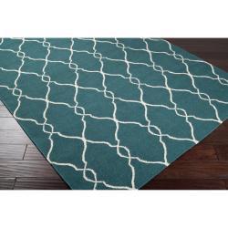 Jill Rosenwald Hand-woven Blue Halicarn Wool Rug (3'6 x 5'6)