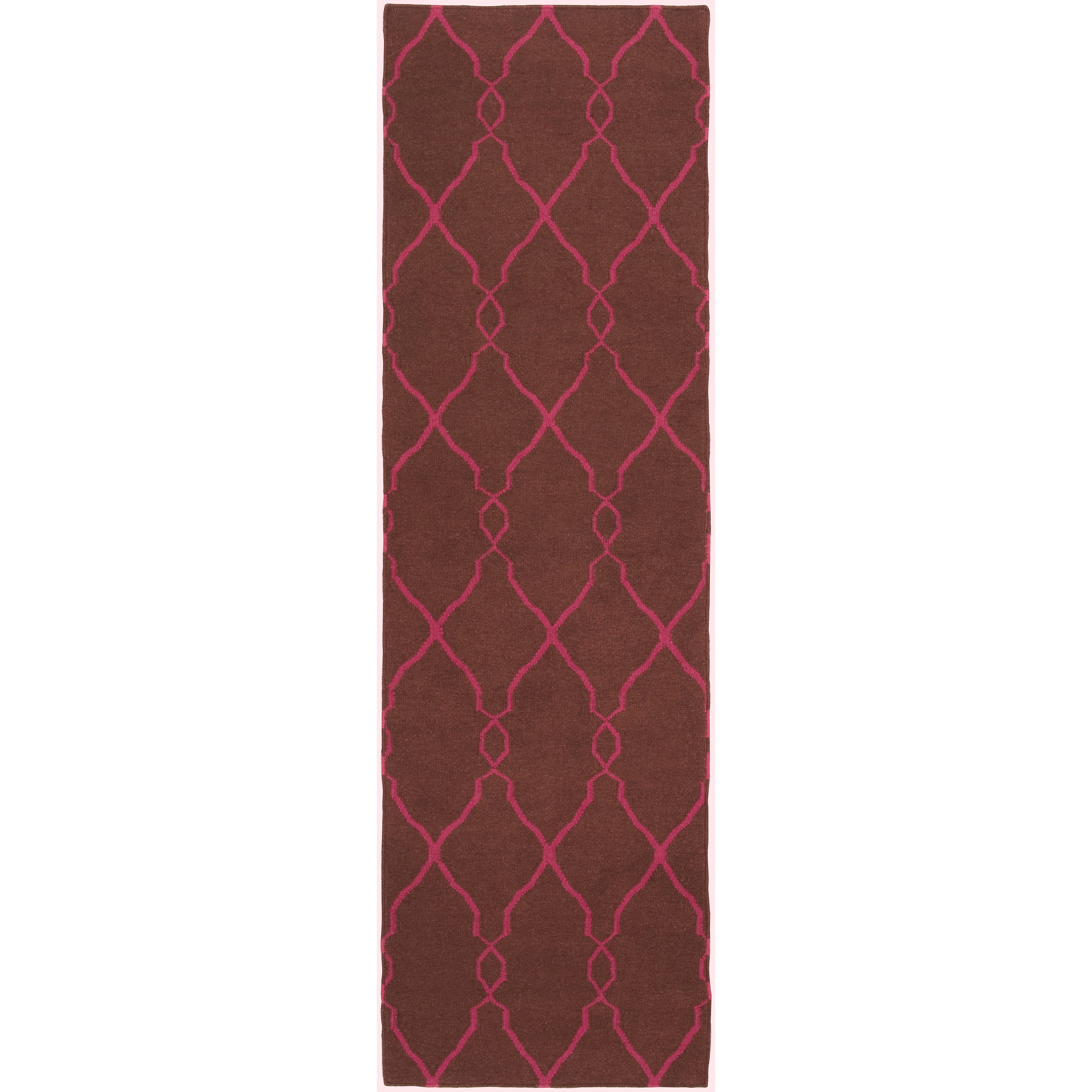 Jill Rosenwald Hand-woven Pink Catacomb Wool Rug (2'6 x 8')