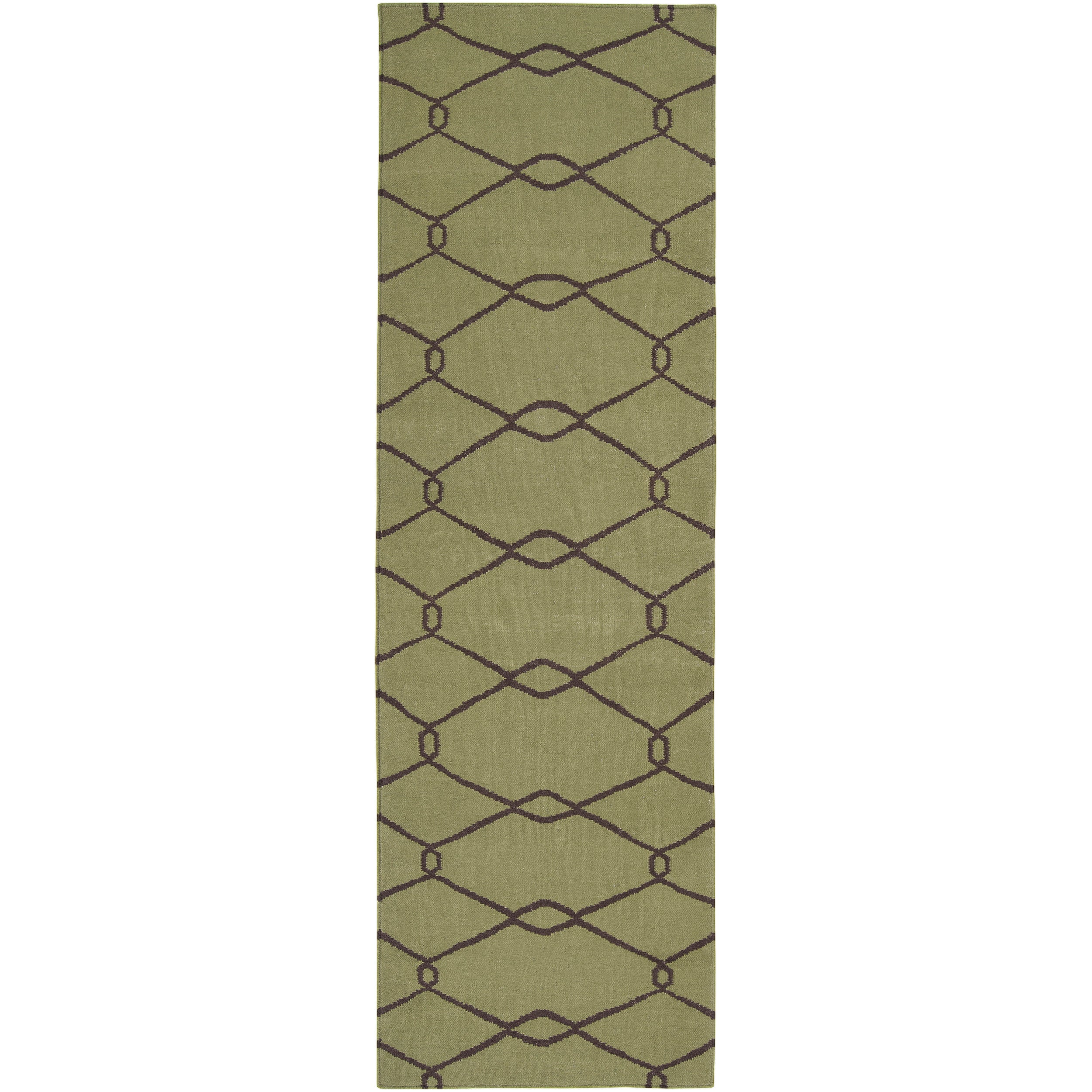 Jill Rosenwald Hand-woven Green Komel Wool Rug (2'6 x 8')