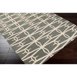 Jill Rosenwald Hand-woven Green Itapu Wool Rug (5' x 8')