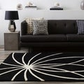 Hand-tufted Contemporary Black/White Adler Wool Abstract Rug (9' x 12')