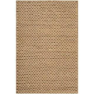 Hand-woven Beige Einstein New Zealand Wool Soft Braided Texture Rug (8' x 10')