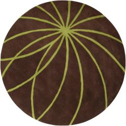 Hand-tufted Contemporary Brown/Green Zhores Wool Abstract Rug (4' Round)