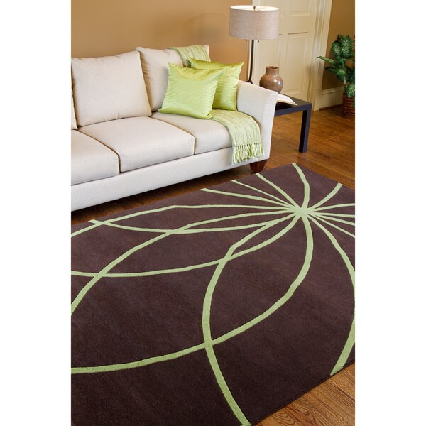 Hand-tufted Contemporary Brown/Green Zhores Wool Abstract Rug (7'6 x 9'6)