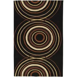 Hand-tufted Black Contemporary Circles Vasily Wool Geometric Rug (10' x 14')