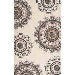 Hand-hooked Gray Adlett Wool Rug (8' x 10')