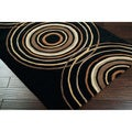 Hand-tufted Black Contemporary Circles Vasily Wool Geometric Rug (4' x 6')