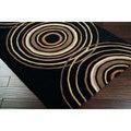 Hand-tufted Black Contemporary Circles Vasily Wool Geometric Rug (4' x 6')
