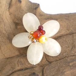 Adorable Lemon Quartz Floral Serenity Pin-Brooch (Thailand)