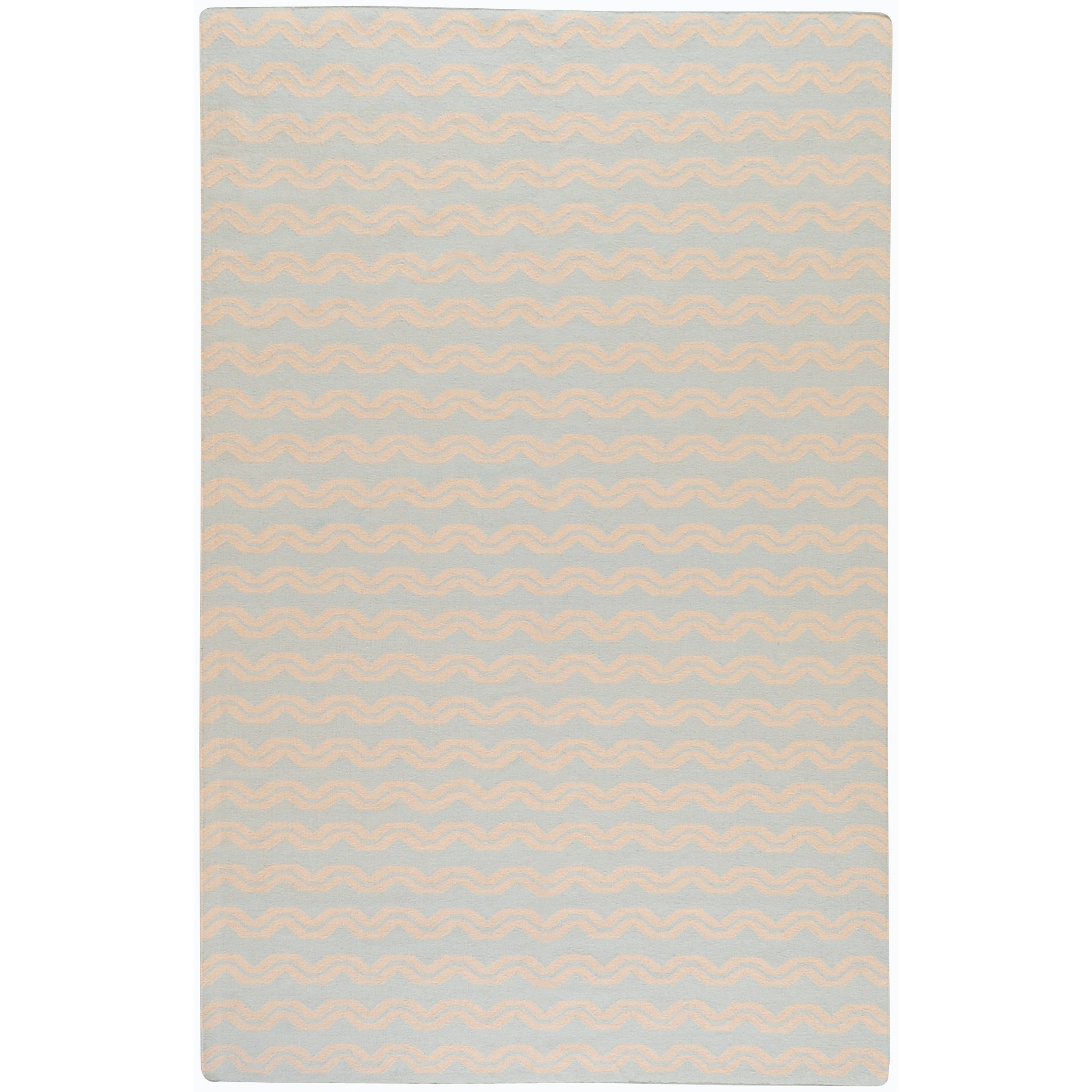 Hand-woven Blue Wool Benardos Rug (3'6 x 5'6)