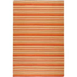 Hand-woven Red Wool Rossine Rug (8' x 11')