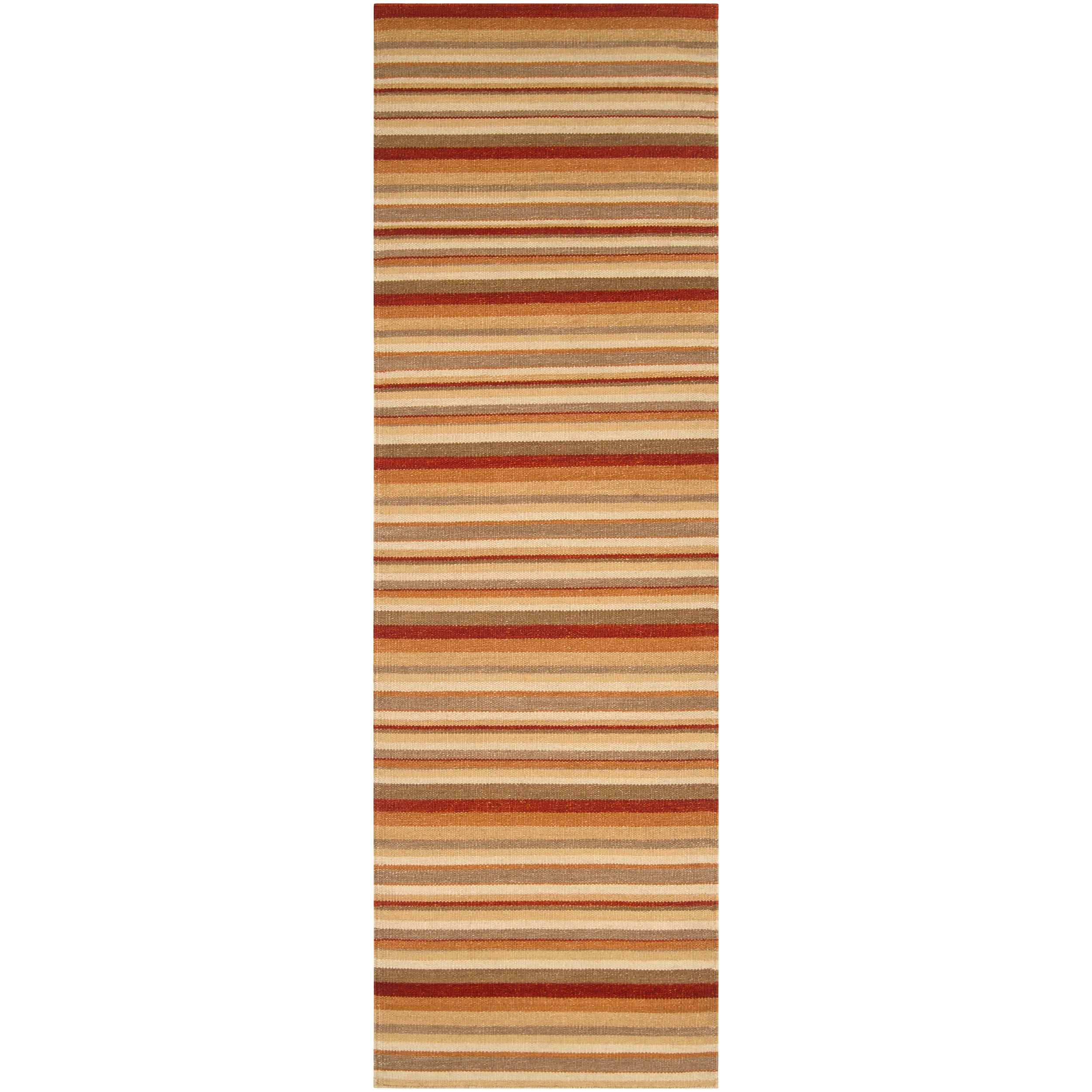 Hand-woven Red Wool Rossine Rug (2'6 x 8')