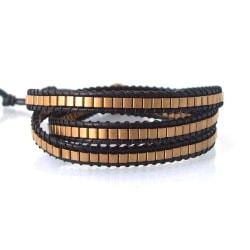Fashion Brass Squares Leather Triple Wrap Bracelet (Thailand)