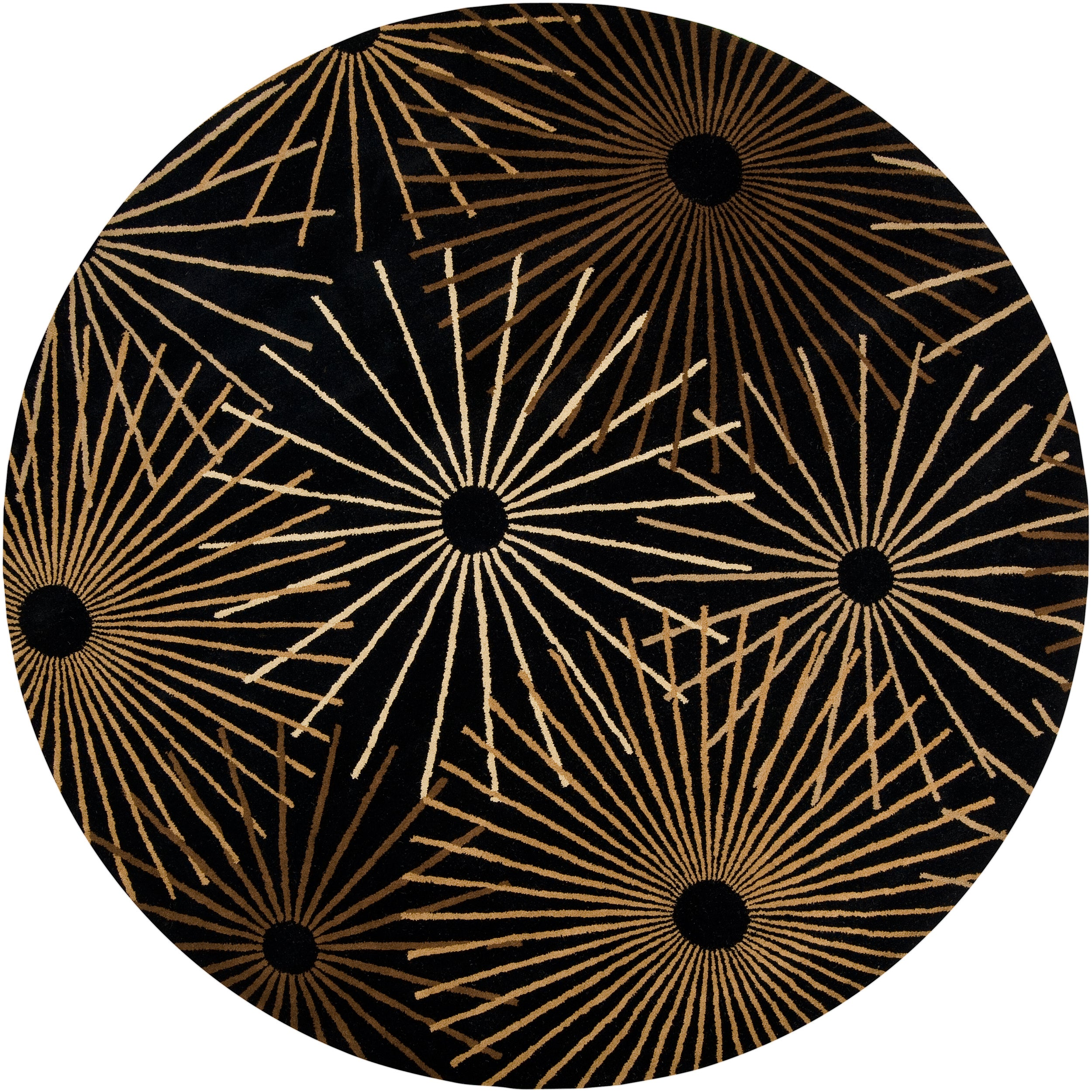Hand-tufted Brown Contemporary Genrich Wool Abstract Rug (6' Round)
