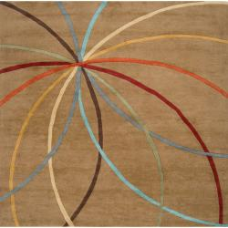 Hand-tufted Tan Contemporary Argand Wool Abstract Rug (4' Square)