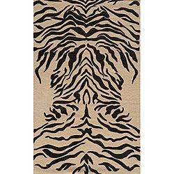 Power-Loomed Zebra Charcoal Rug (5' x 8')