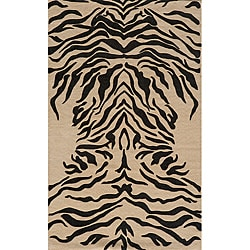 Power-Loomed Zebra Charcoal Rug (8' x 10')