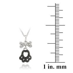 DB Designs Sterling Silver Black Diamond Accent Paw Print And Dog Bone Necklace