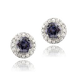 Icz Stonez Sterling Silver Tanzanite Cubic Zirconia Stud Earrings (3.34ct TGW)