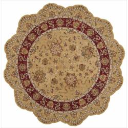 Nourison Hand-tufted Heritage Hall Gold Wool Rug (6' Free Form)
