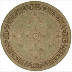 Nourison Hand-tufted Heritage Hall Green Wool Rug (9 x 9) Round