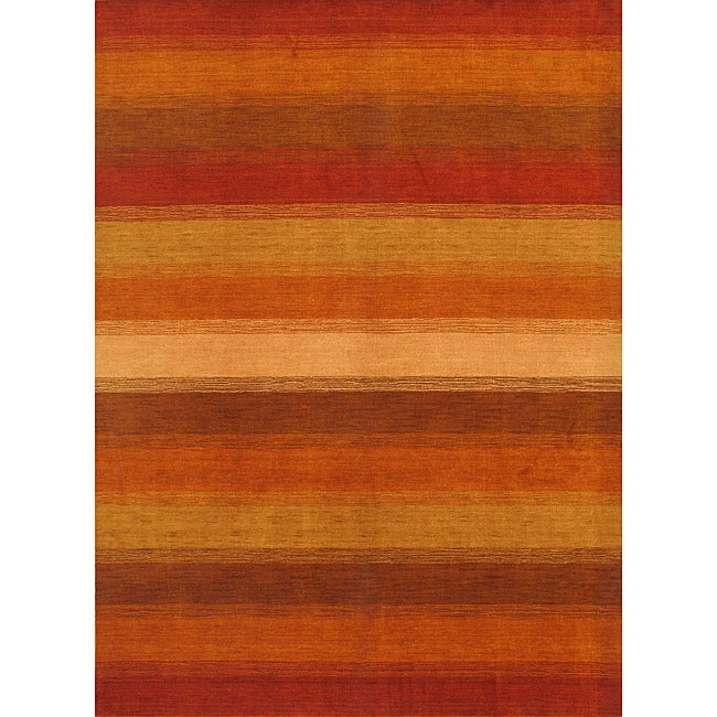 Hand-Knotted Luribaft Gabbeh Khaki Wool Area Rug (5'8 x 8')