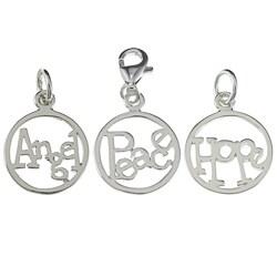 La Preciosa Sterling Silver 'Angel'/'Peace'/'Hope' Circle Charm