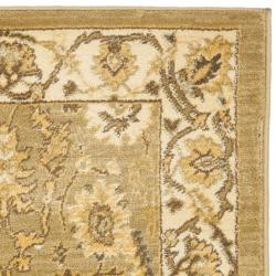 Oushak Green/ Cream Powerloomed Rug (2'6 x 4')
