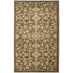 Oushak Brown/ Green Powerloomed Rug (2'6 x 4')