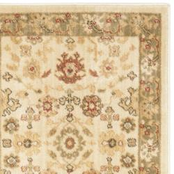 Oushak Cream/ Green Powerloomed Rug (2'3 x 8')