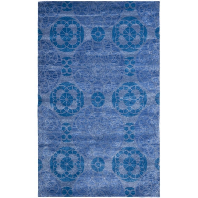 Safavieh Handmade Chatham Treasures Blue New Zealand Wool Rug (4' x 6')