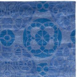 Handmade Chatham Treasures Blue New Zealand Wool Rug (5' x 8')