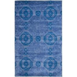 Handmade Chatham Treasures Blue New Zealand Wool Rug (5' x 8')