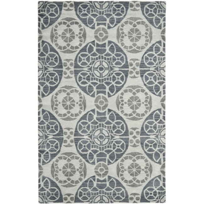 Safavieh Handmade Chatham Treasures Silver New Zealand Wool Rug (8' x 10')