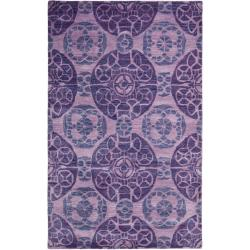Handmade Chatham Treasures Purple New Zealand Wool Rug (4' x 6')