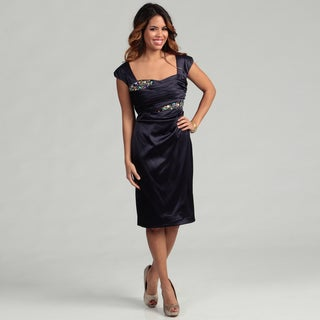 KM Collections Women's Lapis Beaded Ruched Dress FINAL SALE