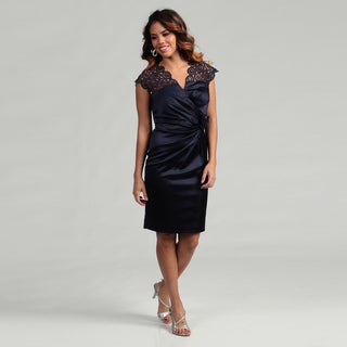 KM Collections Women's Navy Rosette Detail Dress