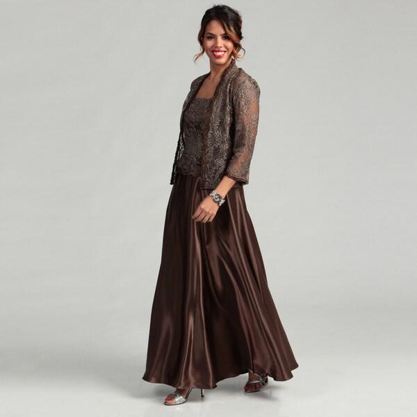 Karen Miller Women's Long Lace Jacket Dress